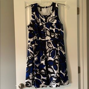 White, Black and Blue dress by Inc